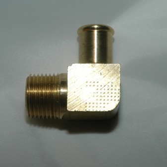 Beaded End Hose Barbs, 90 Elbow, Brass