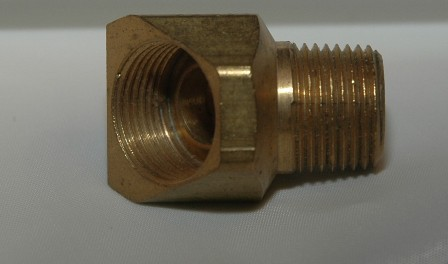 Female Inverted Flare Male NPT Connector, Elbow 45, Brass